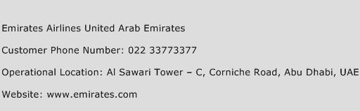 Emirates Airlines United Arab Emirates Phone Number Customer Service