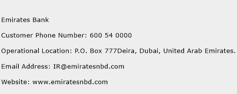 Emirates Bank Phone Number Customer Service