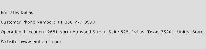 Emirates Dallas Phone Number Customer Service