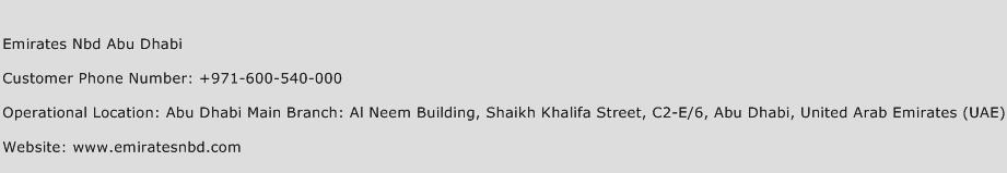 Emirates Nbd Abu Dhabi Phone Number Customer Service
