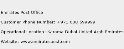 Emirates Post Office Phone Number Customer Service