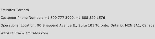 Emirates Toronto Phone Number Customer Service