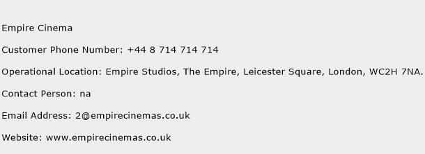 Empire Cinema Phone Number Customer Service