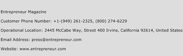 Entrepreneur Magazine Phone Number Customer Service