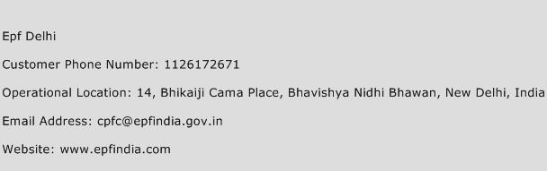 Epf Delhi Phone Number Customer Service