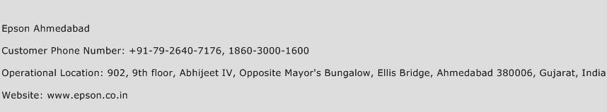 Epson Ahmedabad Phone Number Customer Service