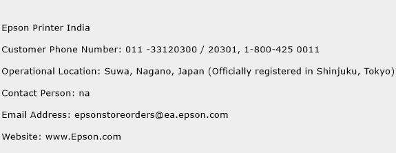 Epson Printer India Phone Number Customer Service