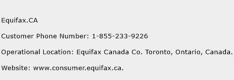 Equifax.CA Phone Number Customer Service