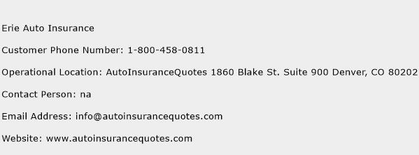 Erie Auto Insurance Phone Number Customer Service