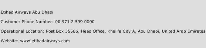 Etihad Airways Abu Dhabi Phone Number Customer Service
