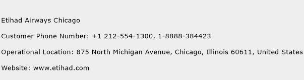 Etihad Airways Chicago Phone Number Customer Service