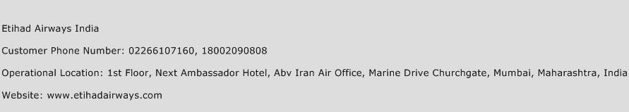 Etihad Airways India Phone Number Customer Service