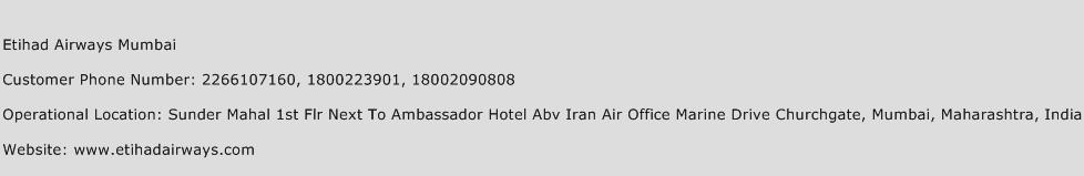 Etihad Airways Mumbai Phone Number Customer Service