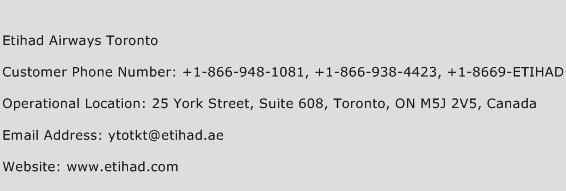 Etihad Airways Toronto Phone Number Customer Service