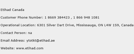 Etihad Canada Phone Number Customer Service
