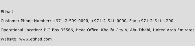 Etihad Phone Number Customer Service