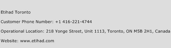 Etihad Toronto Phone Number Customer Service