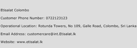 Etisalat Colombo Phone Number Customer Service