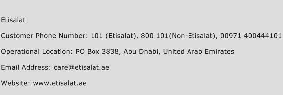 Etisalat Phone Number Customer Service