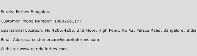 Eureka Forbes Bangalore Phone Number Customer Service