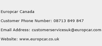 Europcar Canada Customer Service Phone Number Contact Number