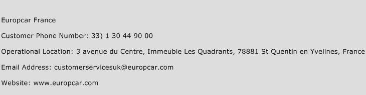 Europcar France Customer Service Phone Number Contact Number