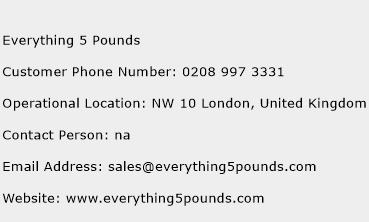 Everything 5 Pounds Phone Number Customer Service