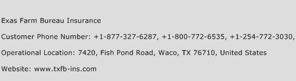 Exas Farm Bureau Insurance Phone Number Customer Service