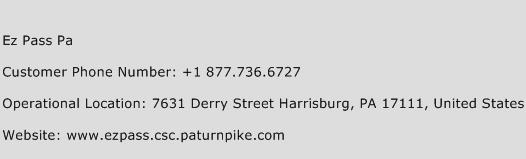 Ez Pass Pa Phone Number Customer Service
