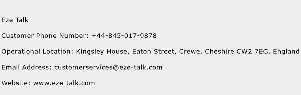 Eze Talk Phone Number Customer Service