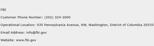 FBI Phone Number Customer Service