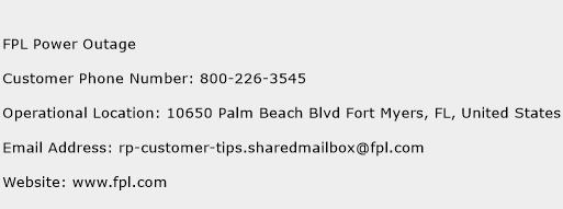 FPL Power Outage Phone Number Customer Service