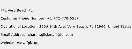 FPL Vero Beach FL Phone Number Customer Service