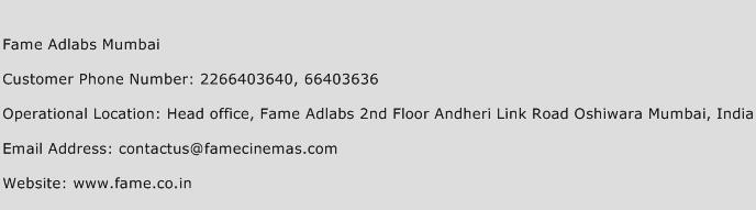 Fame Adlabs Mumbai Phone Number Customer Service