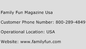 Family Fun Magazine Usa Phone Number Customer Service