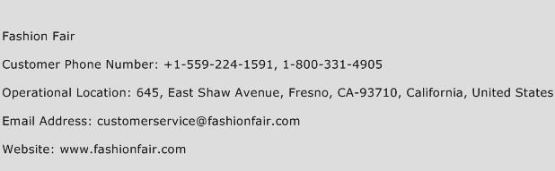 Fashion Fair Phone Number Customer Service