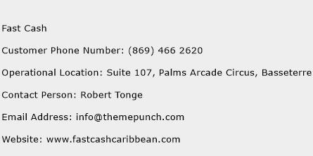 Fast Cash Phone Number Customer Service