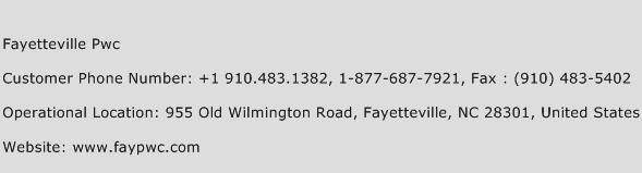 Fayetteville Pwc Phone Number Customer Service