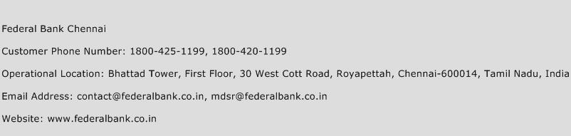 Federal Bank Chennai Phone Number Customer Service