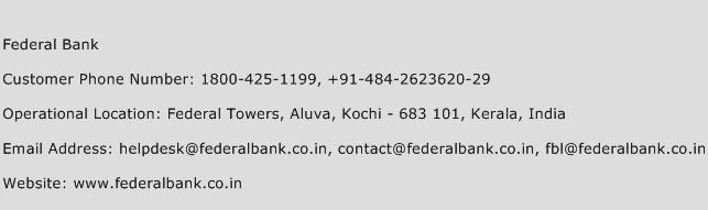 Federal Bank Phone Number Customer Service