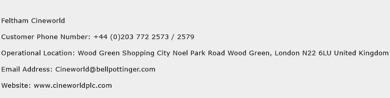 Feltham Cineworld Phone Number Customer Service