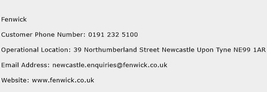 Fenwick Phone Number Customer Service
