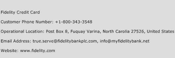 Fidelity Credit Card Phone Number Customer Service