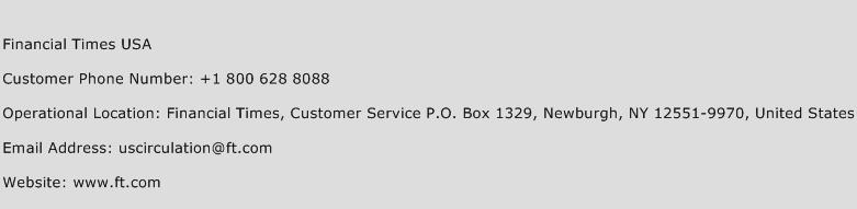 Financial Times USA Phone Number Customer Service