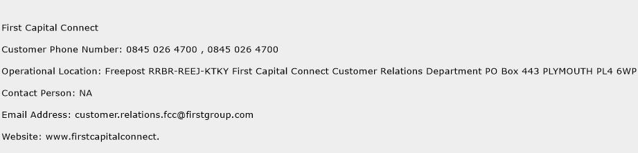 First Capital Connect Phone Number Customer Service