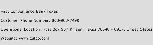First Convenience Bank Texas Phone Number Customer Service