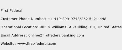 First Federal Phone Number Customer Service