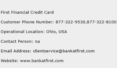 First Financial Credit Card Phone Number Customer Service