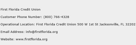 First Florida Credit Union Phone Number Customer Service