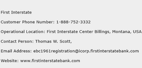 First Interstate Phone Number Customer Service